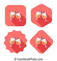Martini glass cheers flat icon with long shadow, eps10