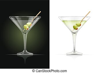 Martini glass. Cocktail with olive.