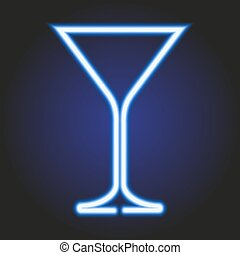 martini glass glowing blue neon of vector illustration