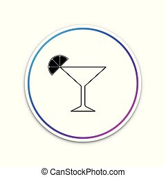 Martini glass icon isolated on white background. Cocktail with lime symbol. Circle white button. Vector Illustration