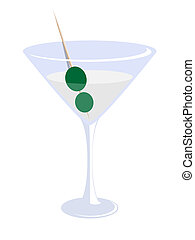 martini glass - vector illustration of a glass of martini...
