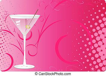 Martini glass on pink halftone background