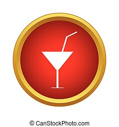 Martini glass with cocktail icon, simple style