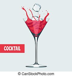 Martini glass with Cosmopolitan cocktail vector