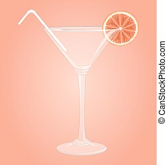 Martini glass with grapefruit