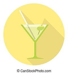 Martini Glass With Olive