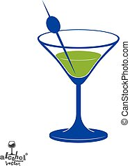 Martini glass with olive berry, alcohol and entertainment theme illustration. Party lifestyle graphic goblet isolated.