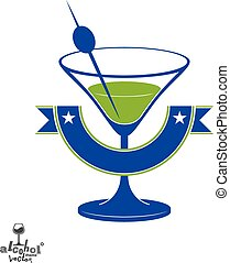 Martini glass with olive berry and decorative ribbon, alcohol and entertainment theme illustration. Party lifestyle.