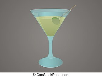 Martini glass with olive illustration