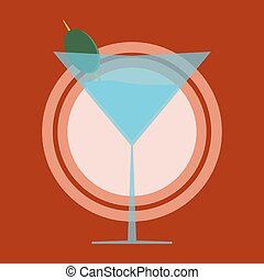 martini glass with olive. Plate concept.