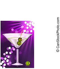 martini glass with olives