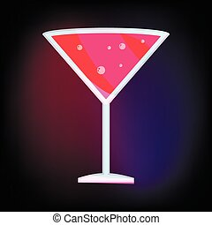 Martini glass with red cocktail icon cartoon style
