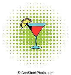 Martini glass with red cocktail icon, comics style