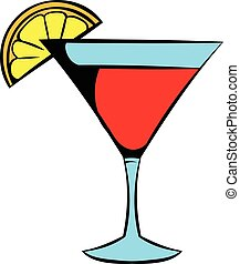 Martini glass with red cocktail icon, icon cartoon