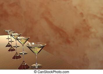 Martini Glasses 3D render