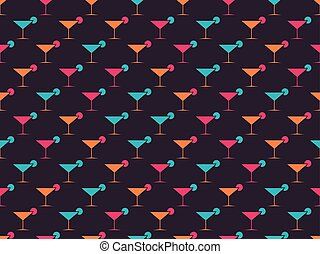 Martini glasses seamless pattern. Multi-colored objects on a dark background. Vector illustration
