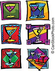 Martini Glasses Vector Image Icons