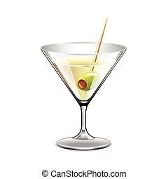 Martini in glass isolated on white vector