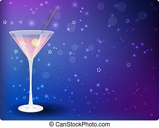 Martini on night background - Glass of pink martini on night...