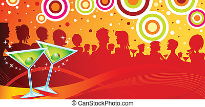 Two Blinking Martini on A Clubbing Background.