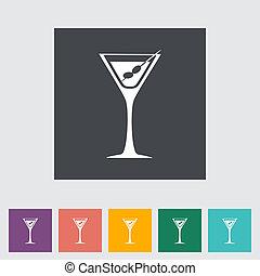martini, solo, plano, icon.