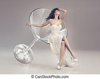 martini szkło, fantastyczny, kobieta