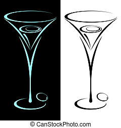 The stylized glass from martini in two variants. On black and on a white background.