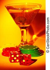 martini, und, spielwürfel