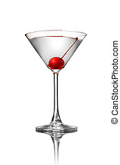 martini with cherry isolated on white