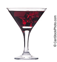 martini with ice cocktail isolated