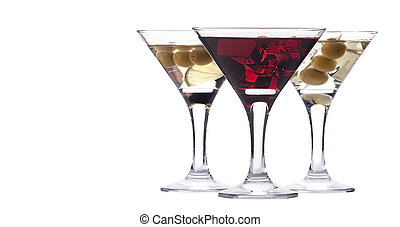 martini with olive and ice set isolated