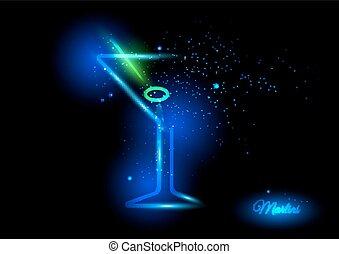 Martini with olive design concept