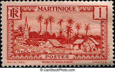 Basse Pointe Village - MARTINIQUE - CIRCA 1933: A stamp ...