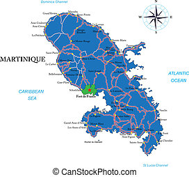 Highly detailed vector map of Martinique with administrative regions, main cities and roads.