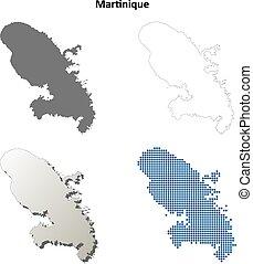 Martinique outline map set