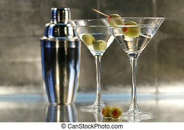 martinis, con, coctelera