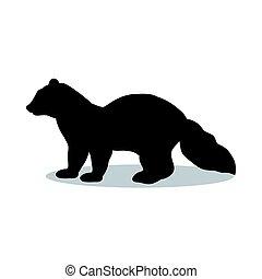 martre, silhouette, zibeline, vison, noir, animal, mammifère