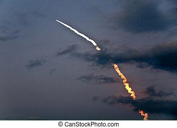 marts, 15, 2009, igangsætning, i, opdagelse, shuttle,...