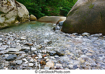Marvellous mountain small river among southern forests -...