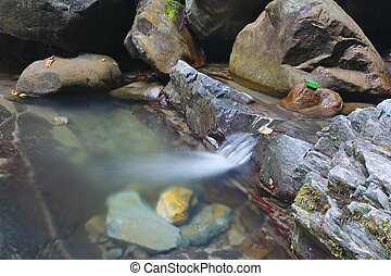 Marvellous stream of mountain creek flows between the rocks...