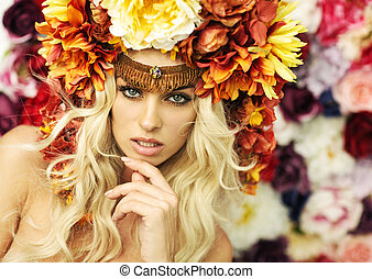 Marvelous blonde woman with flower hat