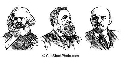 Marx, Engels and Lenin vector portraits