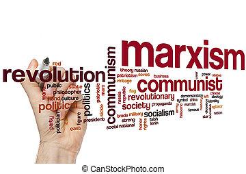 marxismo, palavra, nuvem