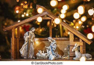 mary, ヨセフ, クリスマスのnativity, キリスト, scene;, イエス・キリスト