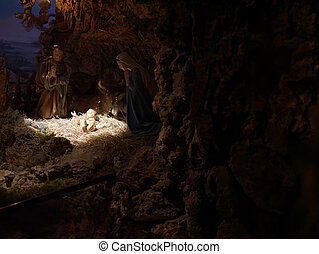 mary, 現場, nativity, jo, 表された, クリスマス, 小像