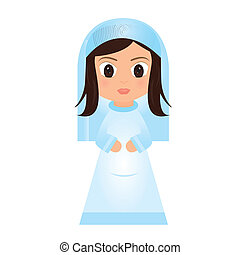 abstract cartoon mary on a white background