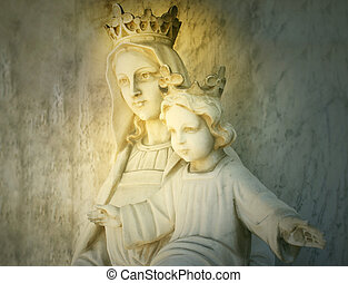 Beautiful sculpture of the virgin Mary and Baby Jesus