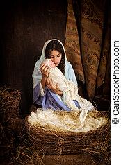 Mary and Jesus in nativity scene