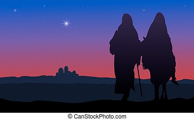 Mary and Joseph - Bethlehem Christmas. Star in night sky...