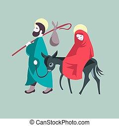Mary and Joseph flee to Egypt Nativity Jesus Illustration